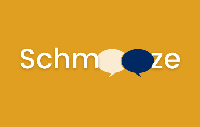 schmooze graphic with speech bubbles as the O's