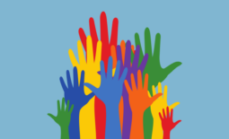 illustration of different color raised hands
