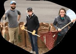 volunteers raking leaves