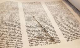 open torah scroll with yad